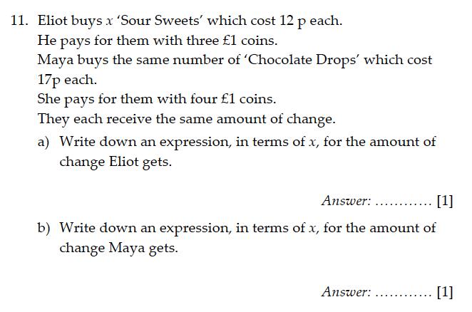 Sevenoaks School - Year 9 Maths Sample Paper 2011 Question 12