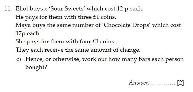 Sevenoaks School - Year 9 Maths Sample Paper 2011 Question 13