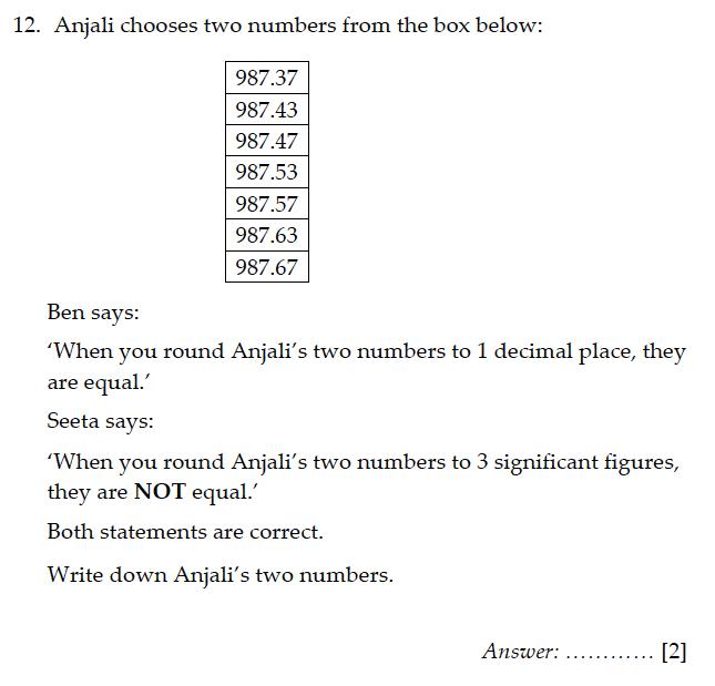 Sevenoaks School - Year 9 Maths Sample Paper 2011 Question 14