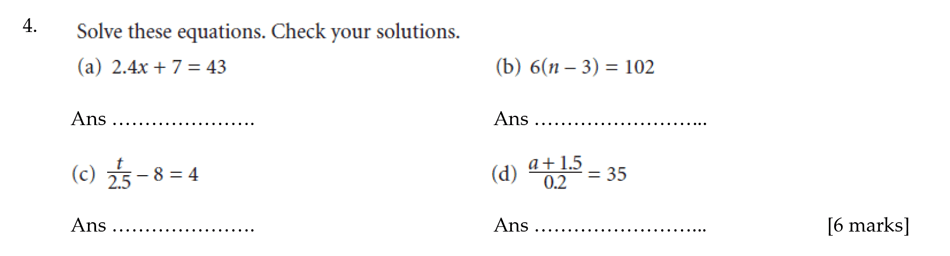 Sevenoaks School - Year 9 Maths Sample Paper 2012 Question 04