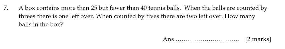 Sevenoaks School - Year 9 Maths Sample Paper 2012 Question 07
