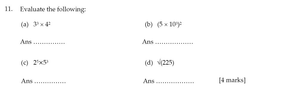 Sevenoaks School - Year 9 Maths Sample Paper 2012 Question 13