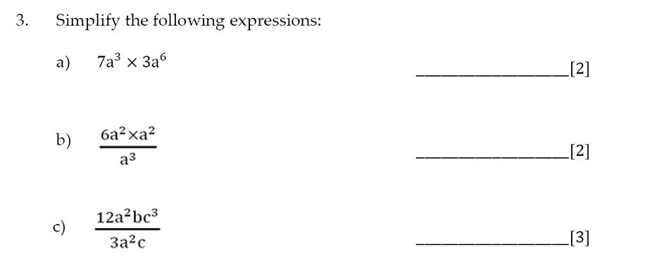 Sevenoaks School - Year 9 Maths Sample Paper 2014 Question 06