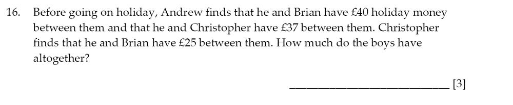 Sevenoaks School - Year 9 Maths Sample Paper 2014 Question 19