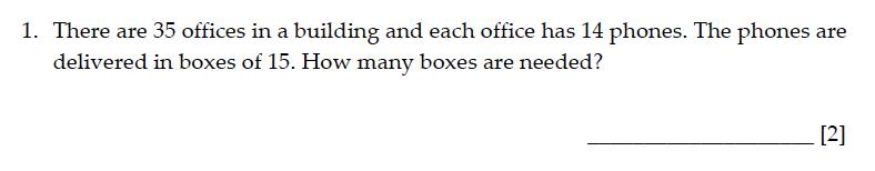 Sevenoaks School - Year 9 Maths Sample Paper 2015 Question 01