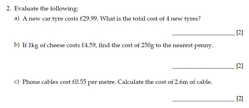 Sevenoaks School - Year 9 Maths Sample Paper 2015 Question 02