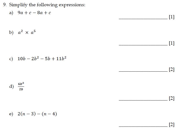 Sevenoaks School - Year 9 Maths Sample Paper 2015 Question 10