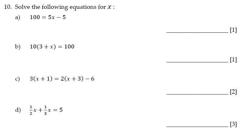 Sevenoaks School - Year 9 Maths Sample Paper 2015 Question 11