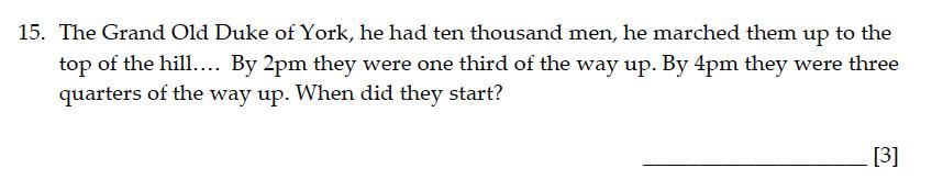 Sevenoaks School - Year 9 Maths Sample Paper 2015 Question 16