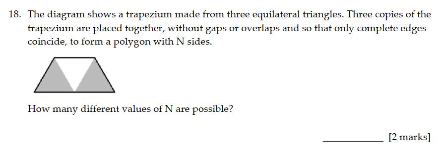 Sevenoaks School - Year 9 Maths Sample Paper 2016 Question 18