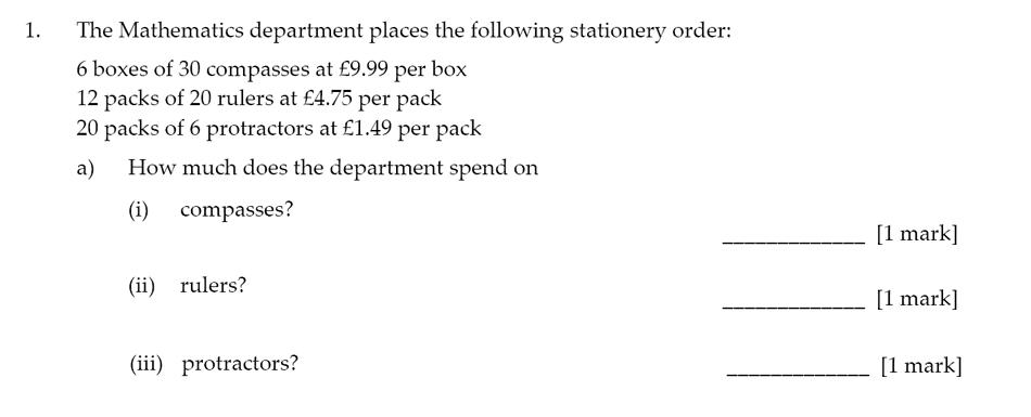 Sevenoaks School - Year 9 Maths Sample Paper 2017 Question 01
