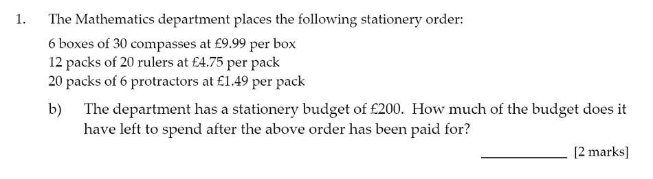 Sevenoaks School - Year 9 Maths Sample Paper 2017 Question 02