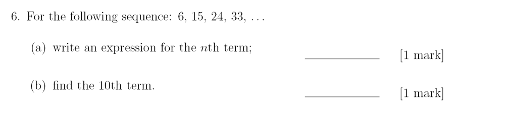 Sevenoaks School - Year 9 Maths Sample Paper 2018 Question 09
