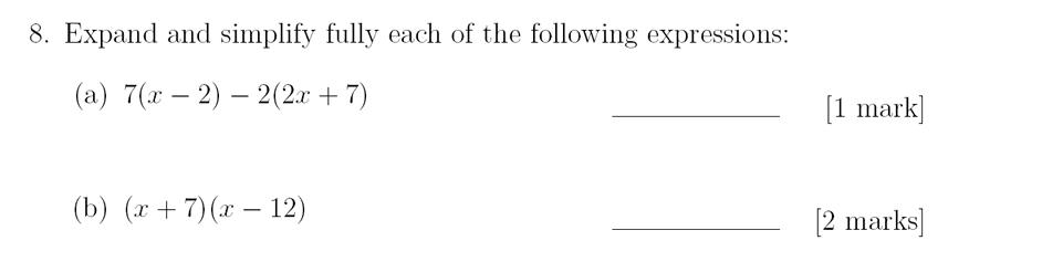 Sevenoaks School - Year 9 Maths Sample Paper 2018 Question 11