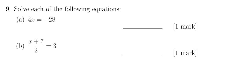 Sevenoaks School - Year 9 Maths Sample Paper 2018 Question 12