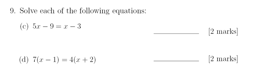 Sevenoaks School - Year 9 Maths Sample Paper 2018 Question 13