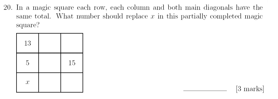 Sevenoaks School - Year 9 Maths Sample Paper 2018 Question 27