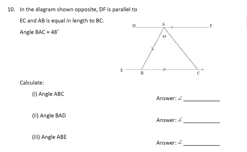 The Perse Upper School - Year 9 Maths Specimen Paper 1 Question 10