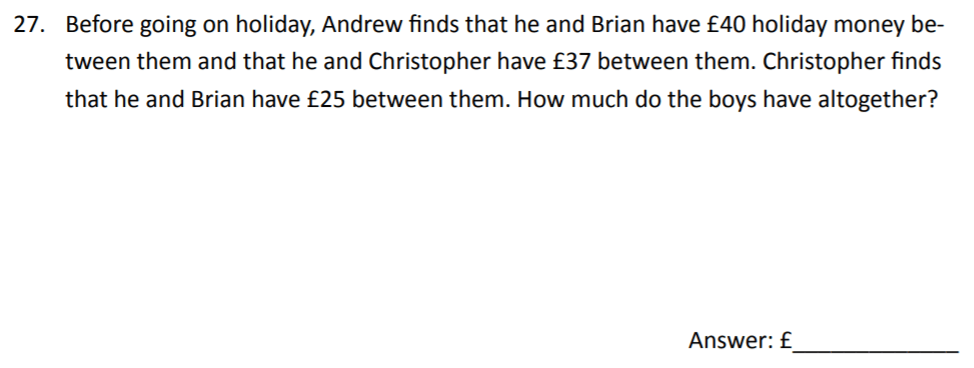 The Perse Upper School - Year 9 Maths Specimen Paper 2 Question 29