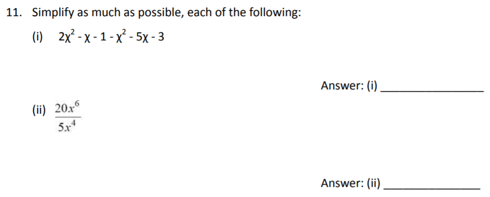 The Perse Upper School - Year 9 Maths Specimen Paper 3 Question 11