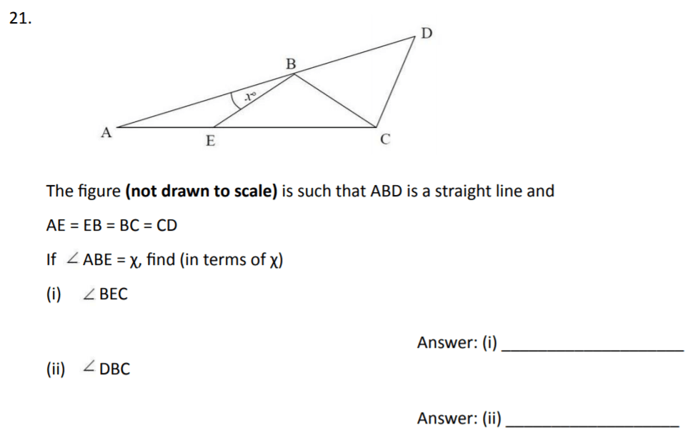 The Perse Upper School - Year 9 Maths Specimen Paper 3 Question 21