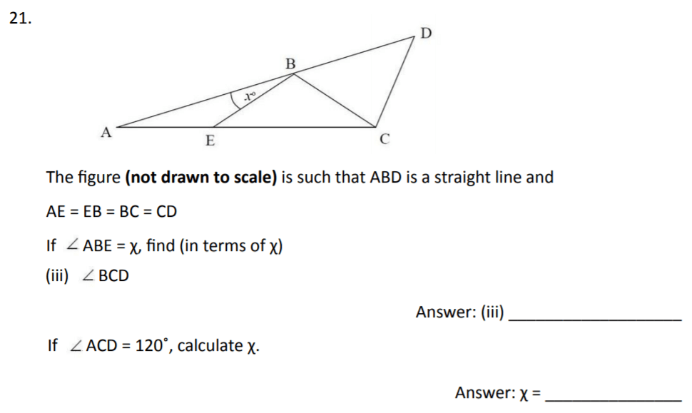 The Perse Upper School - Year 9 Maths Specimen Paper 3 Question 22