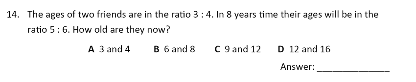 The Perse Upper School - Year 9 Maths Specimen Paper 4 Question 16