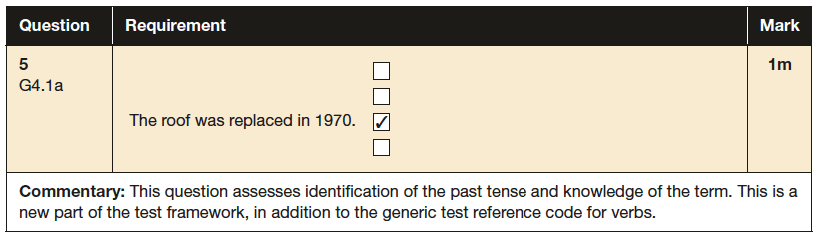Answer 05 SPaG KS2 SATs Papers 2016 - Year 6 English Exam Paper 1, Verb forms, tenses and consistency