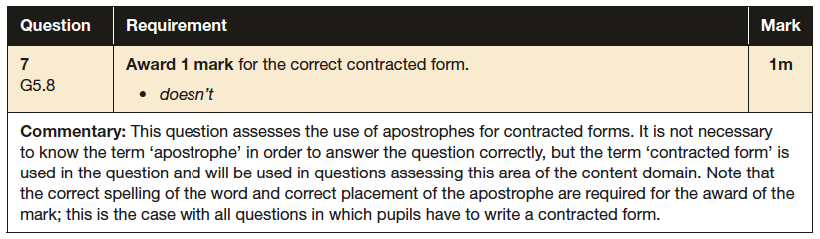 Answer 07 SPaG KS2 SATs Papers 2016 - Year 6 English Practice Paper 1, Punctuation