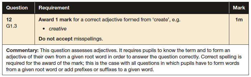 Answer 12 SPaG KS2 SATs Papers 2016 - Year 6 English Practice Paper 1, Grammatical terms / word classes