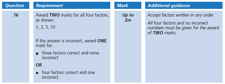 Answer 16 Maths KS2 SATs Papers 2005 - Year 6 Exam Paper 2, Numbers, Factors