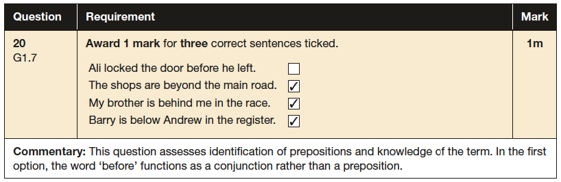 Answer 20 SPaG KS2 SATs Papers 2016 - Year 6 English Exam Paper 1, Grammatical terms / word classes