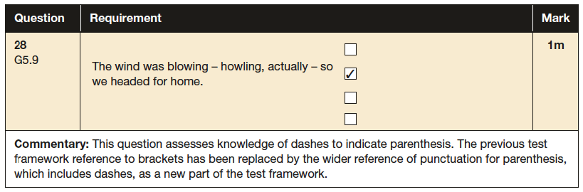 Answer 28 SPaG KS2 SATs Papers 2016 - Year 6 English Past Paper 1, Punctuation