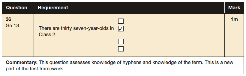 Answer 36 SPaG KS2 SATs Papers 2016 - Year 6 English Sample Paper 1, Punctuation