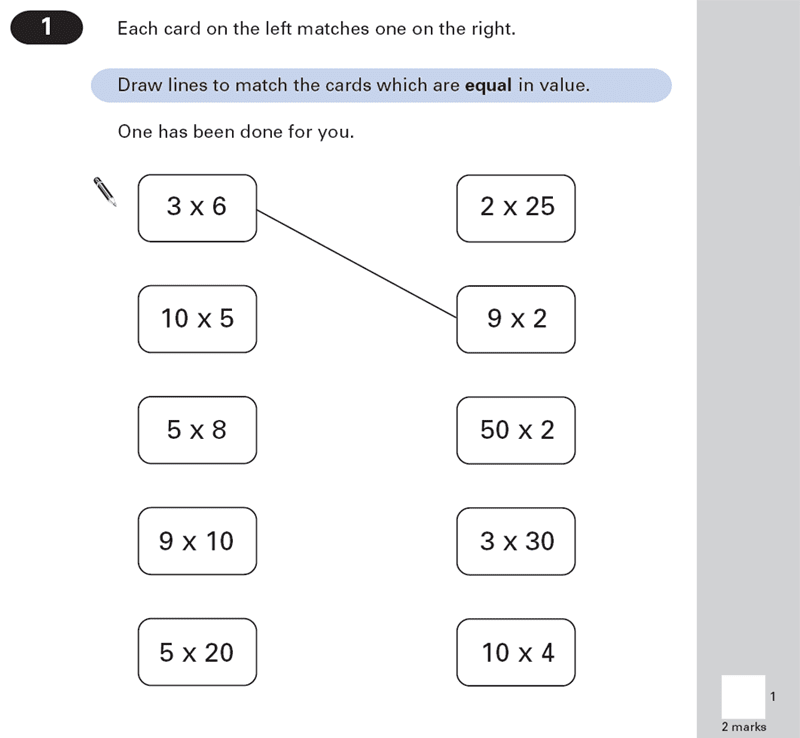 Question 01 Maths KS2 SATs Papers 2000 - Year 6 Exam Paper 1, Numbers, Multiplication