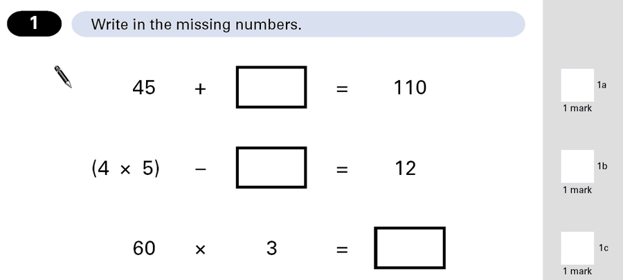 Question 01 Maths KS2 SATs Papers 2001 - Year 6 Exam Paper 1, Algebra, BIDMAS