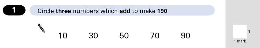 Question 01 Maths KS2 SATs Papers 2001 - Year 6 Exam Paper 2, Numbers, Addition