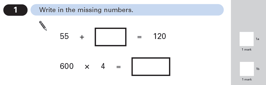 Question 01 Maths KS2 SATs Papers 2003 - Year 6 Exam Paper 1, Numbers, Multiplication, Subtraction