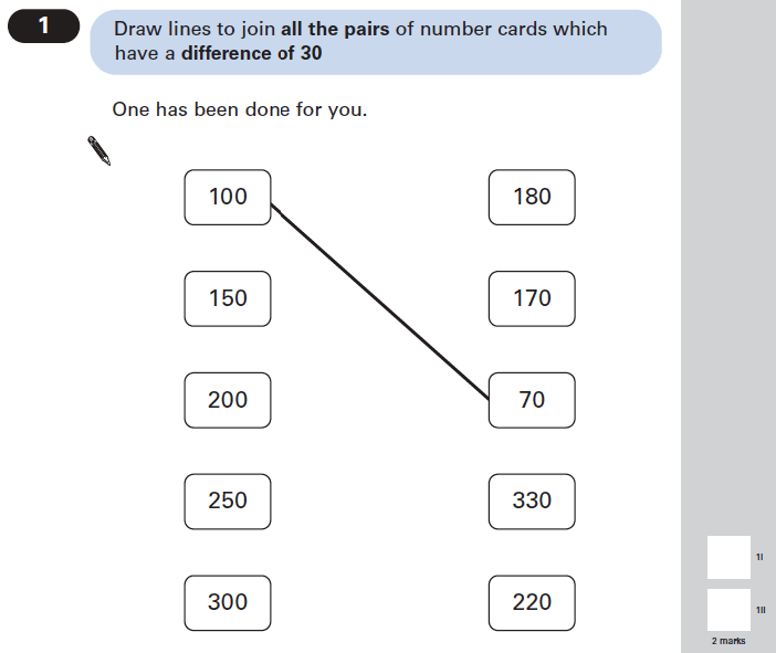 Question 01 Maths KS2 SATs Papers 2005 - Year 6 Practice Paper 1, Numbers, Subtraction