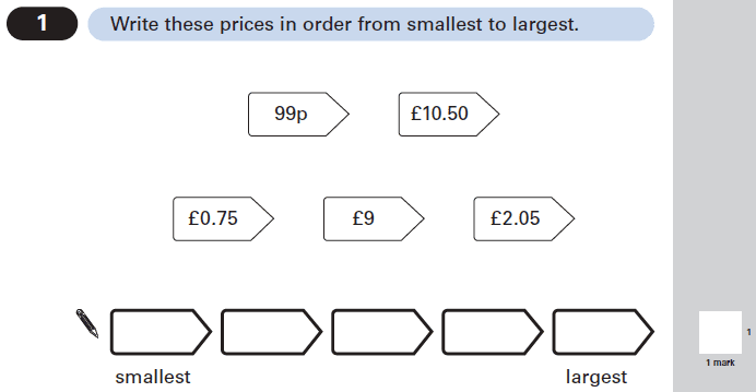 Question 01 Maths KS2 SATs Papers 2005 - Year 6 Practice Paper 2, Numbers, Order and Compare Numbers, Measurement, Currency Conversions, Money