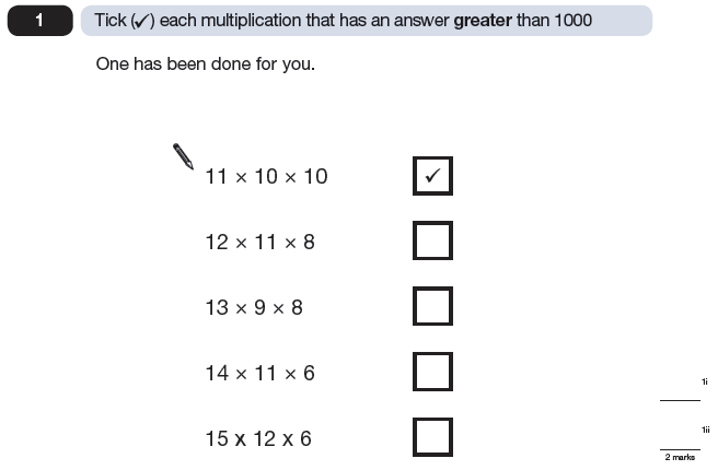Question 01 Maths KS2 SATs Papers 2009 - Year 6 Past Paper 2, Numbers, Multiplication, Order and Compare Numbers