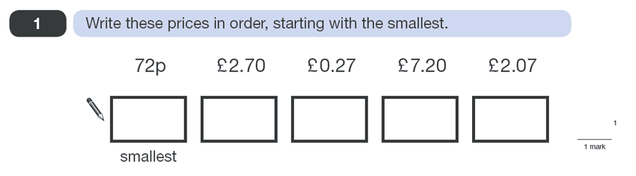 Question 01 Maths KS2 SATs Papers 2010 - Year 6 Practice Paper 1, Numbers, Order and Compare Numbers Measurement, Currency Conversions, Money