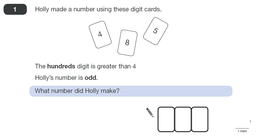 Question 01 Maths KS2 SATs Papers 2011 - Year 6 Practice Paper 1, Numbers, Place Value, Logical Problems