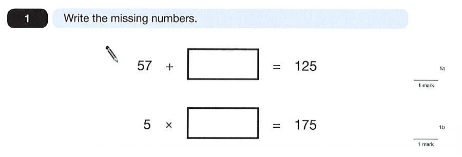 Question 01 Maths KS2 SATs Papers 2012 - Year 6 Past Paper 2, Numbers, Division, Subtraction