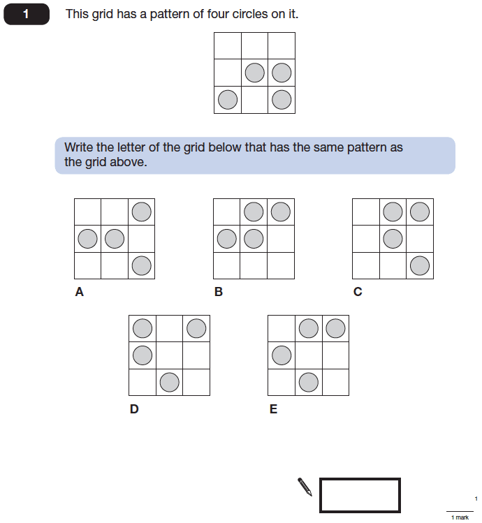 Question 01 Maths KS2 SATs Papers 2014 - Year 6 Past Paper 1, Geometry, Rotational Symmetry