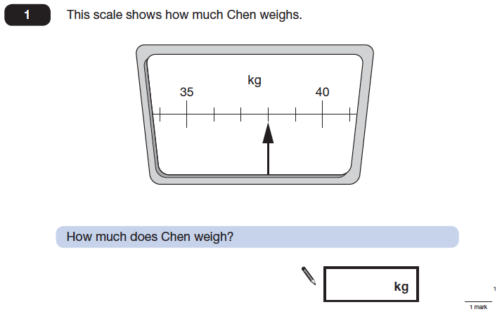 Question 01 Maths KS2 SATs Papers 2014 - Year 6 Past Paper 2, Measurement, Scale reading