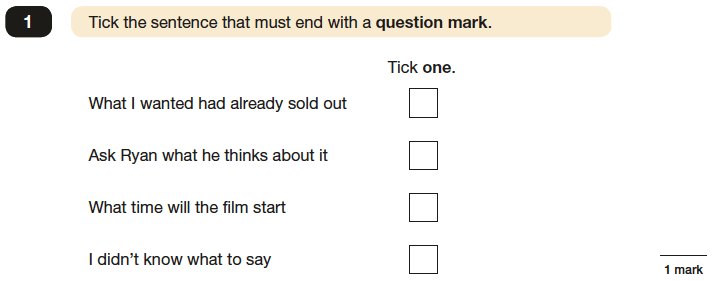 Question 01 SPaG KS2 SATs Papers 2016 - Year 6 English Sample Paper 1, Functions of sentences
