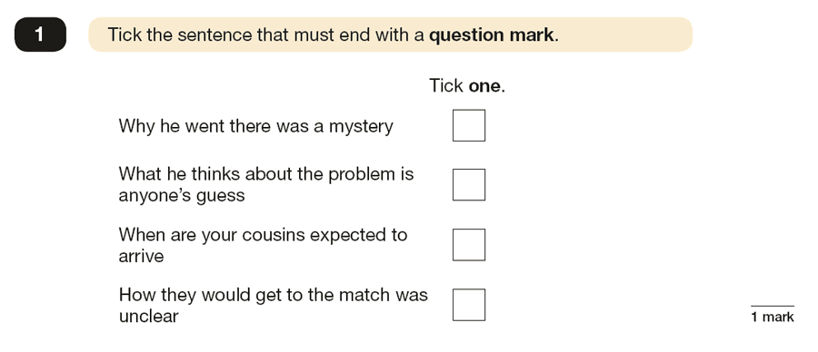 Question 01 SPaG KS2 SATs Papers 2017 - Year 6 English Practice Paper 1, Functions of sentences