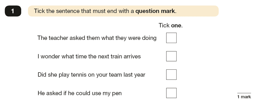 Question 01 SPaG KS2 SATs Papers 2019 - Year 6 English Exam Paper 1, Punctuation