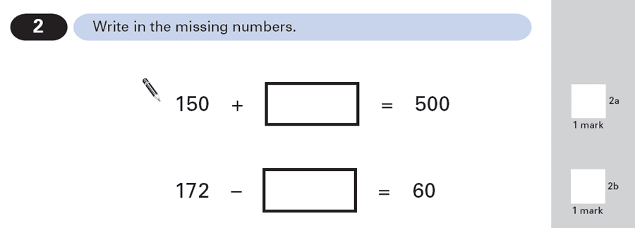 Question 02 Maths KS2 SATs Papers 2000 - Year 6 Past Paper 1, Numbers, Subtraction